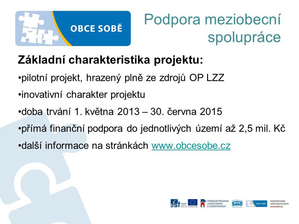 Podpora meziobecní spolupráce Základní charakteristika projektu: pilotní projekt, hrazený plně ze zdrojů OP LZZ inovativní charakter projektu doba trvání 1.