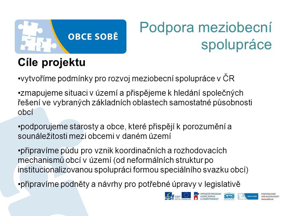 Podpora meziobecní spolupráce Cíle projektu vytvoříme podmínky pro rozvoj meziobecní spolupráce v ČR zmapujeme situaci v území a přispějeme k hledání společných řešení ve vybraných základních oblastech samostatné působnosti obcí podporujeme starosty a obce, které přispějí k porozumění a sounáležitosti mezi obcemi v daném území připravíme půdu pro vznik koordinačních a rozhodovacích mechanismů obcí v území (od neformálních struktur po institucionalizovanou spolupráci formou speciálního svazku obcí) připravíme podněty a návrhy pro potřebné úpravy v legislativě