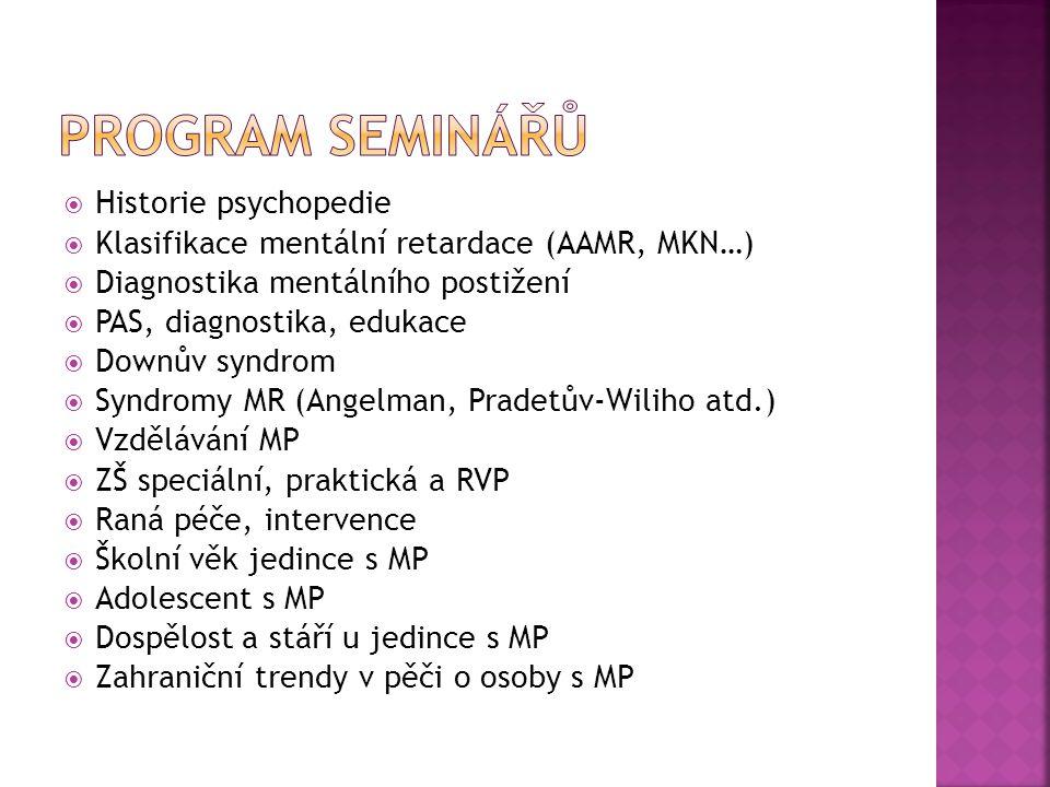  Historie psychopedie  Klasifikace mentální retardace (AAMR, MKN…)  Diagnostika mentálního postižení  PAS, diagnostika, edukace  Downův syndrom  Syndromy MR (Angelman, Pradetův-Wiliho atd.)  Vzdělávání MP  ZŠ speciální, praktická a RVP  Raná péče, intervence  Školní věk jedince s MP  Adolescent s MP  Dospělost a stáří u jedince s MP  Zahraniční trendy v pěči o osoby s MP