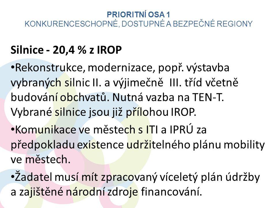 Silnice - 20,4 % z IROP Rekonstrukce, modernizace, popř. výstavba vybraných silnic II. a výjimečně III. tříd včetně budování obchvatů. Nutná vazba na