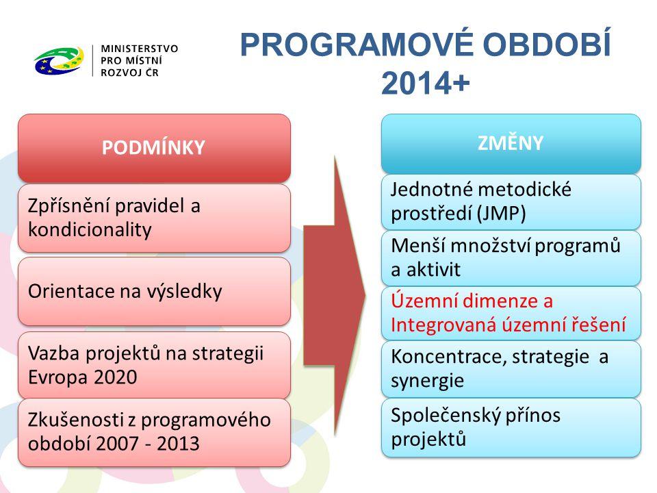 PROGRAMOVÉ OBDOBÍ 2014+ PODMÍNKY Zpřísnění pravidel a kondicionality Orientace na výsledky Vazba projektů na strategii Evropa 2020 Zkušenosti z progra