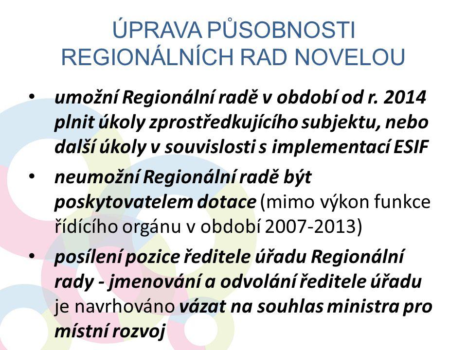 ÚPRAVA PŮSOBNOSTI REGIONÁLNÍCH RAD NOVELOU umožní Regionální radě v období od r. 2014 plnit úkoly zprostředkujícího subjektu, nebo další úkoly v souvi