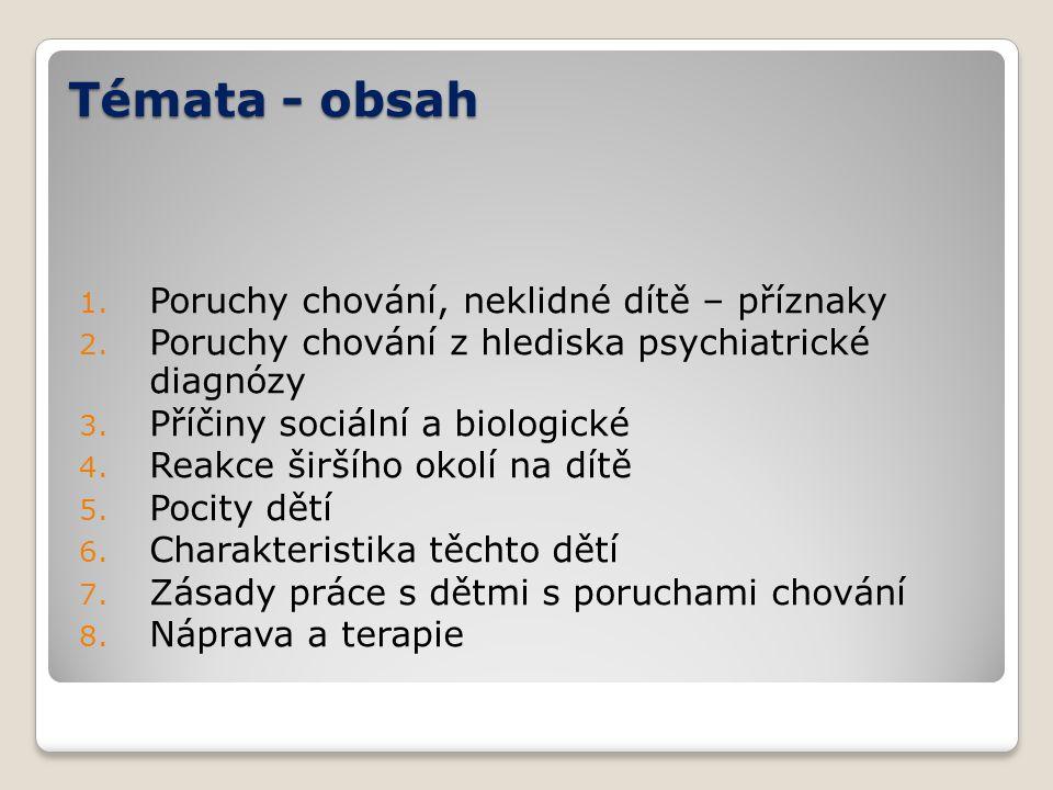 Témata - obsah 1. Poruchy chování, neklidné dítě – příznaky 2. Poruchy chování z hlediska psychiatrické diagnózy 3. Příčiny sociální a biologické 4. R
