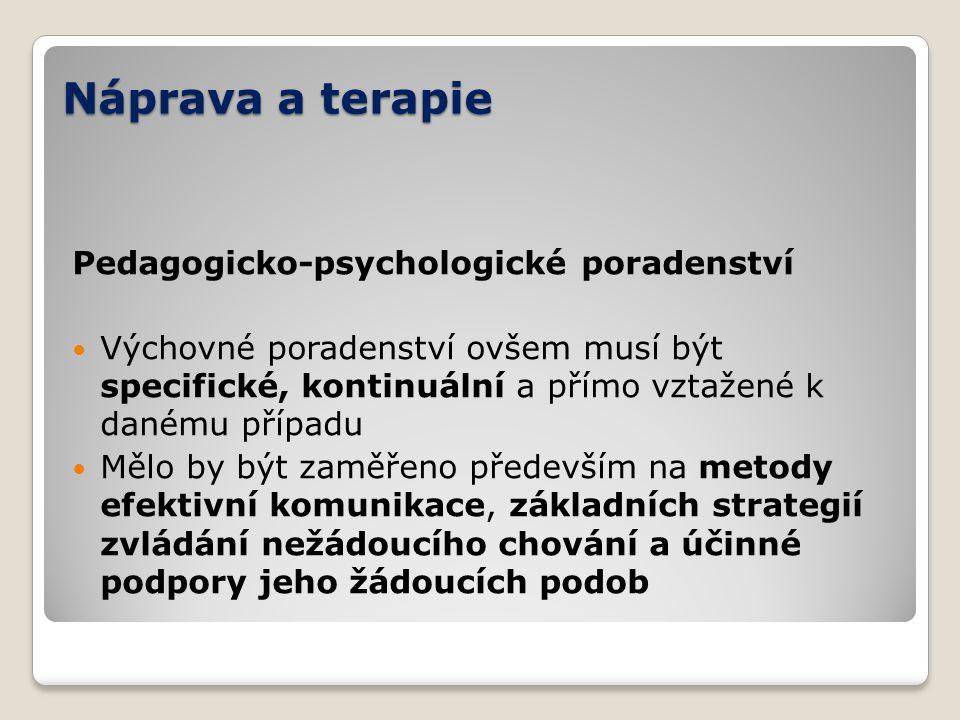 Náprava a terapie Pedagogicko-psychologické poradenství Výchovné poradenství ovšem musí být specifické, kontinuální a přímo vztažené k danému případu