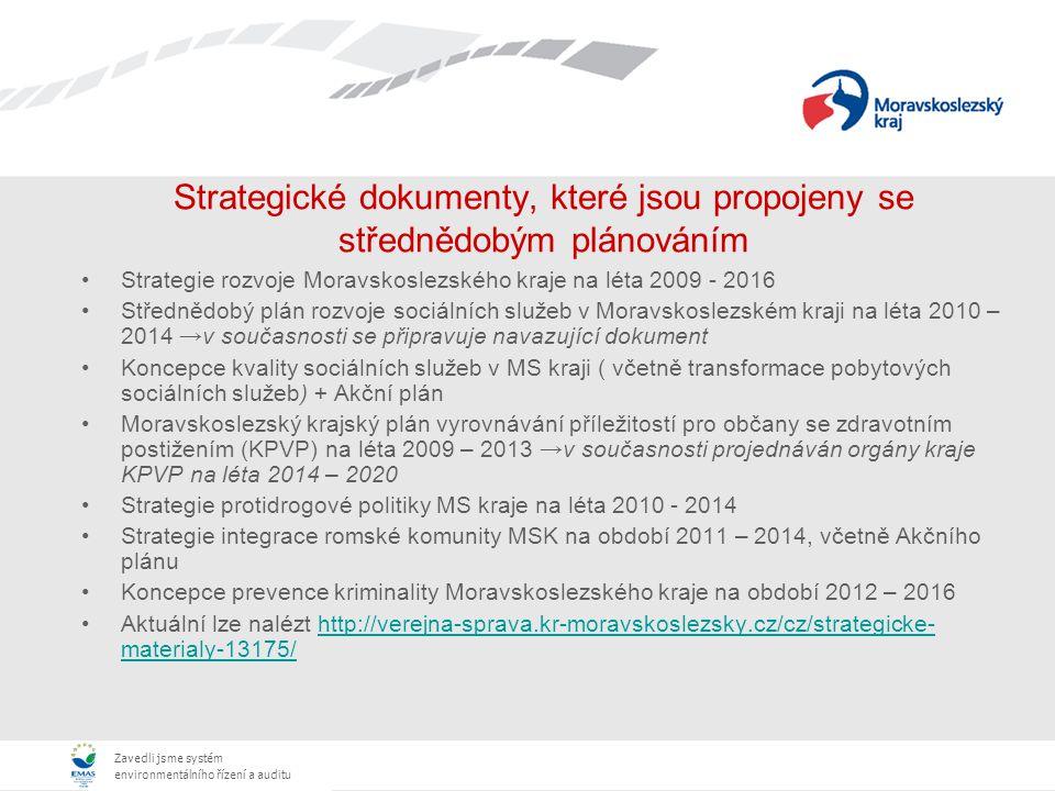 Zavedli jsme systém environmentálního řízení a auditu Strategické dokumenty, které jsou propojeny se střednědobým plánováním Strategie rozvoje Moravsk