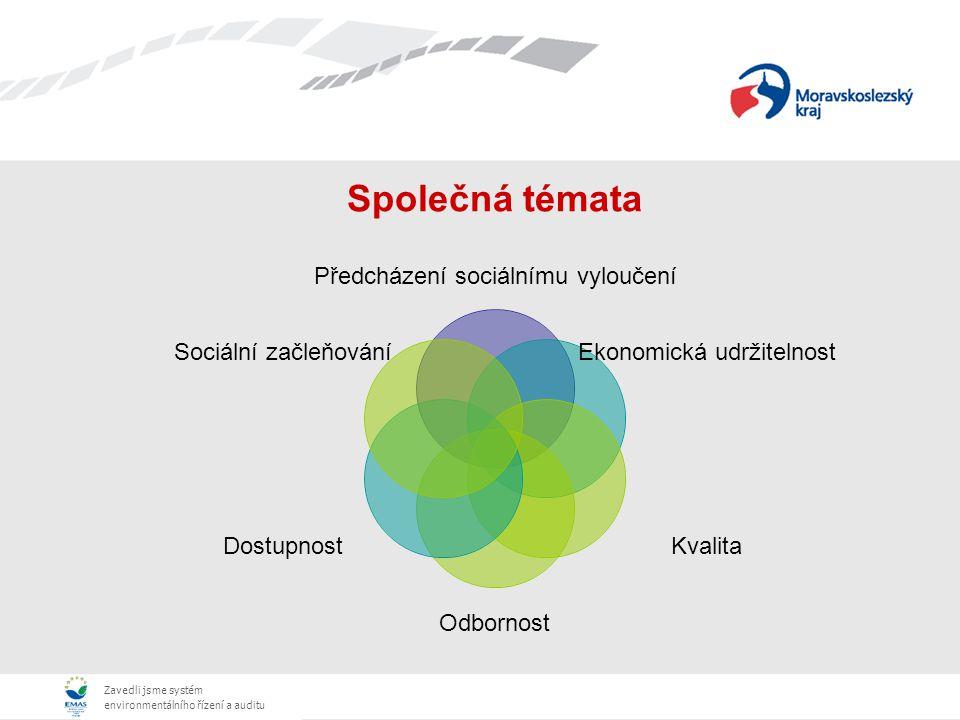 Zavedli jsme systém environmentálního řízení a auditu Společná témata Předcházení sociálnímu vyloučení Ekonomická udržitelnost Kvalita Odbornost Dostupnost Sociální začleňování
