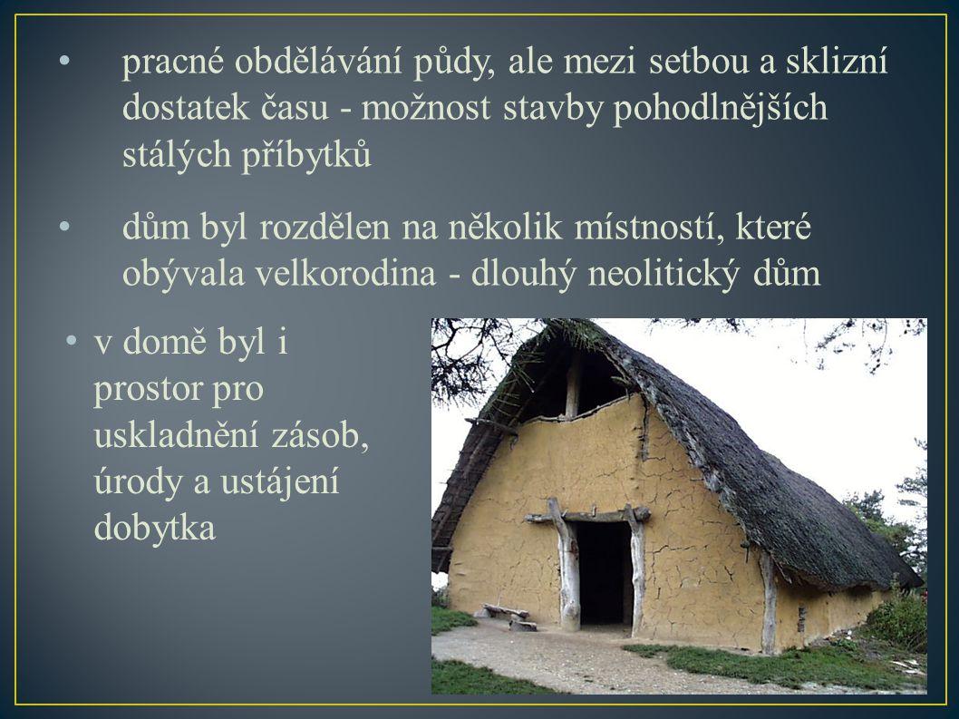 pracné obdělávání půdy, ale mezi setbou a sklizní dostatek času - možnost stavby pohodlnějších stálých příbytků dům byl rozdělen na několik místností, které obývala velkorodina - dlouhý neolitický dům v domě byl i prostor pro uskladnění zásob, úrody a ustájení dobytka