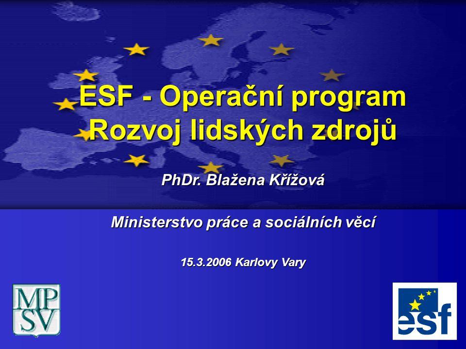 ESF - Operační program Rozvoj lidských zdrojů PhDr. Blažena Křížová Ministerstvo práce a sociálních věcí 15.3.2006 Karlovy Vary