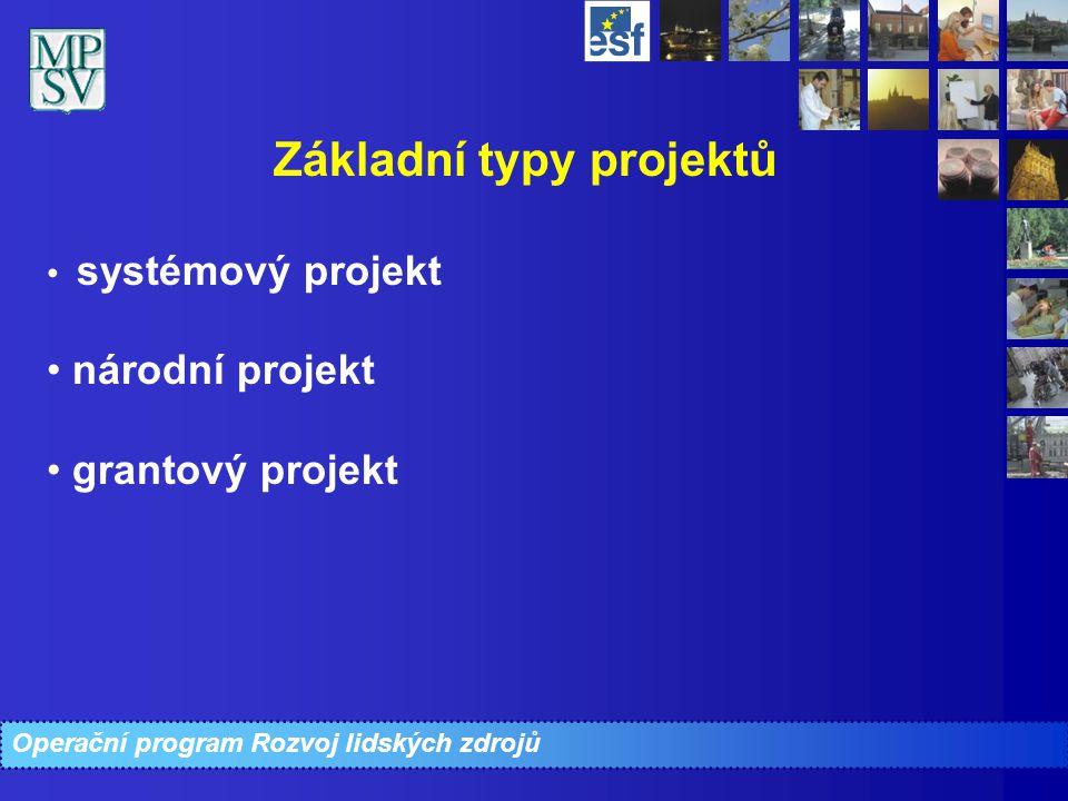 Operační program Rozvoj lidských zdrojů Základní typy projektů systémový projekt národní projekt grantový projekt