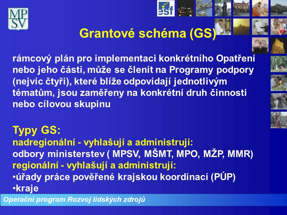 Operační program Rozvoj lidských zdrojů Grantové schéma (GS) rámcový plán pro implementaci konkrétního Opatření nebo jeho části, může se členit na Pro