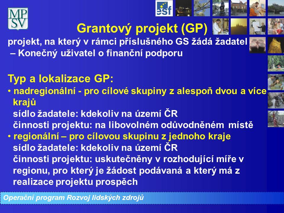 Operační program Rozvoj lidských zdrojů Grantový projekt (GP) projekt, na který v rámci příslušného GS žádá žadatel – Konečný uživatel o finanční podp
