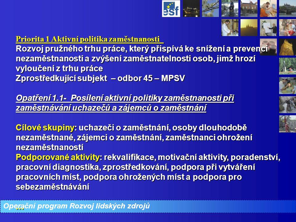 Operační program Rozvoj lidských zdrojů Priorita 1 Aktivní politika zaměstnanosti Rozvoj pružného trhu práce, který přispívá ke snížení a prevenci nez