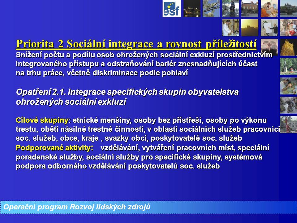 Operační program Rozvoj lidských zdrojů Priorita 2 Sociální integrace a rovnost příležitostí Snížení počtu a podílu osob ohrožených sociální exkluzí p
