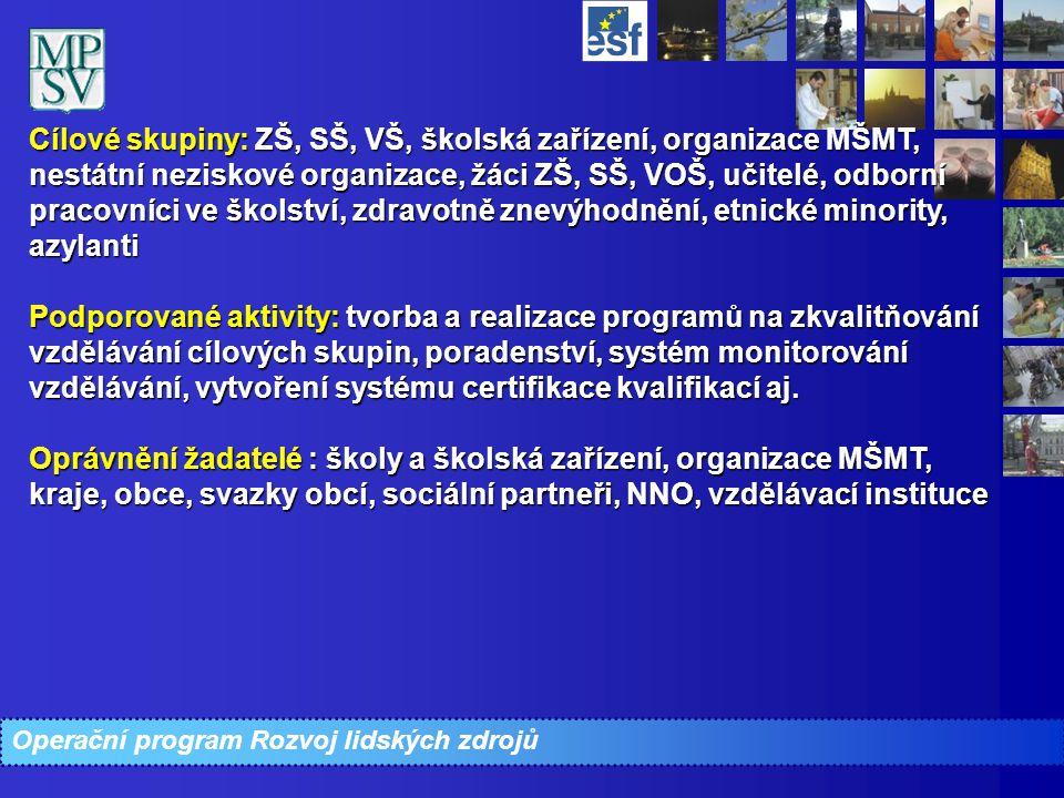 Cílové skupiny: ZŠ, SŠ, VŠ, školská zařízení, organizace MŠMT, nestátní neziskové organizace, žáci ZŠ, SŠ, VOŠ, učitelé, odborní pracovníci ve školstv
