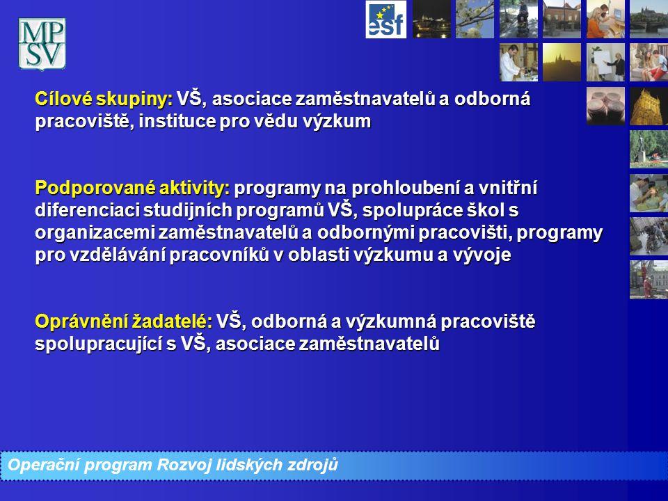 Cílové skupiny: VŠ, asociace zaměstnavatelů a odborná pracoviště, instituce pro vědu výzkum Podporované aktivity: programy na prohloubení a vnitřní di