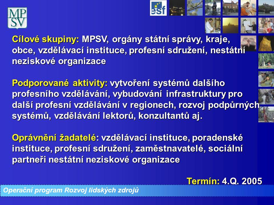 Cílové skupiny: MPSV, orgány státní správy, kraje, obce, vzdělávací instituce, profesní sdružení, nestátní neziskové organizace Podporované aktivity: