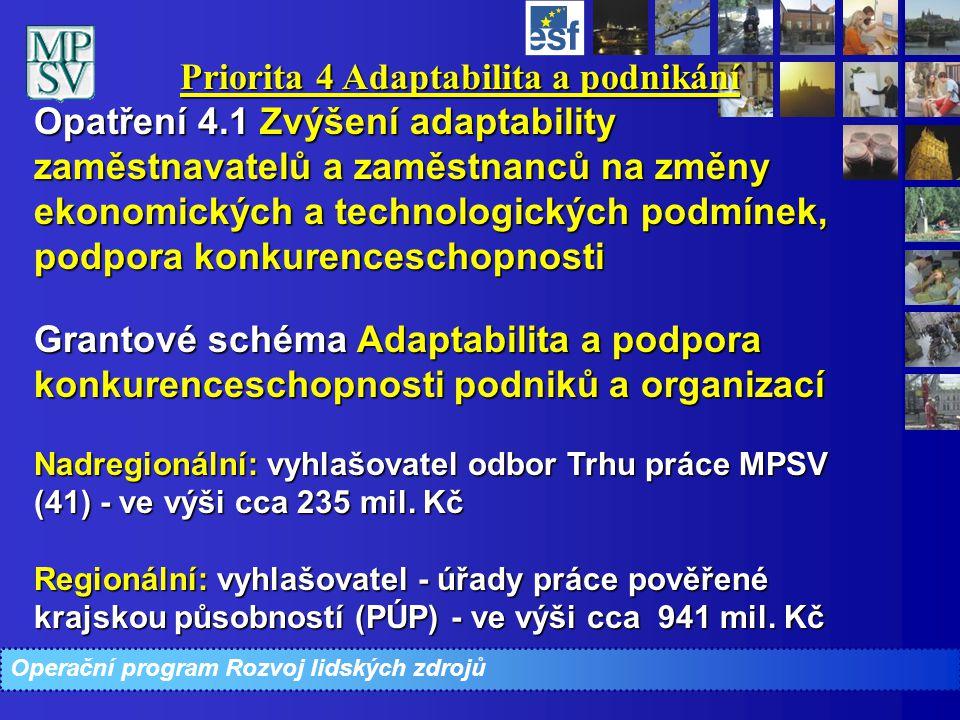 Priorita 4 Adaptabilita a podnikání Opatření 4.1 Zvýšení adaptability zaměstnavatelů a zaměstnanců na změny ekonomických a technologických podmínek, p