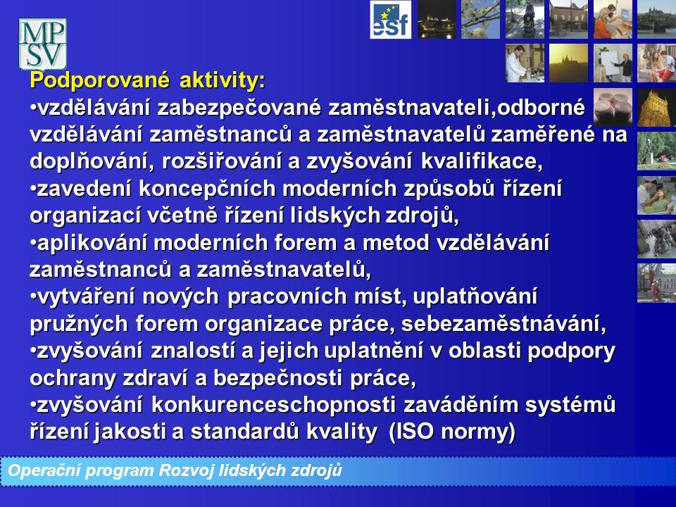 Podporované aktivity: vzdělávání zabezpečované zaměstnavateli,odborné vzdělávání zaměstnanců a zaměstnavatelů zaměřené na doplňování, rozšiřování a zv