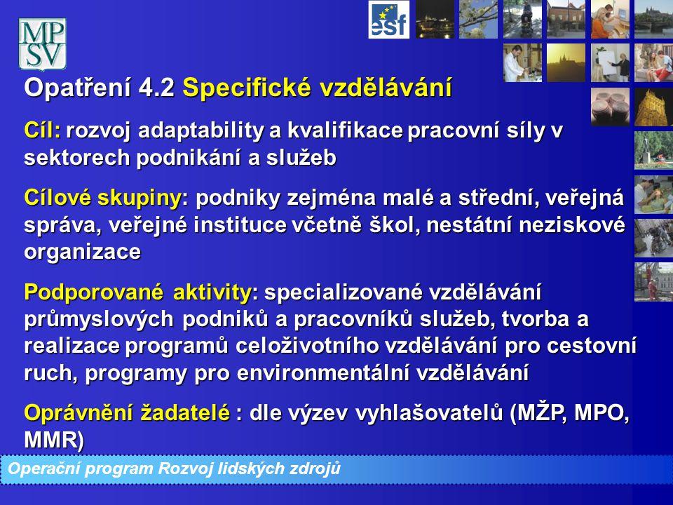 Opatření 4.2 Specifické vzdělávání Opatření 4.2 Specifické vzdělávání Cíl: rozvoj adaptability a kvalifikace pracovní síly v sektorech podnikání a slu