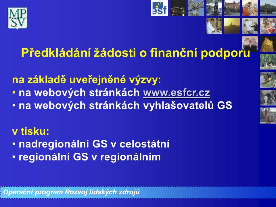 Operační program Rozvoj lidských zdrojů Předkládání žádosti o finanční podporu na základě uveřejněné výzvy: www.esfcr.cz na webových stránkách www.esf