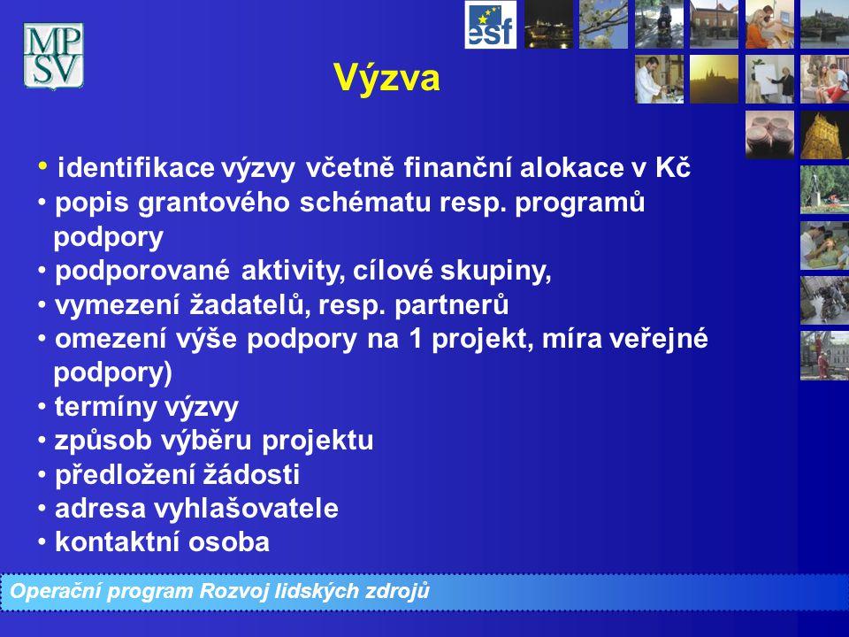 Operační program Rozvoj lidských zdrojů Výzva identifikace výzvy včetně finanční alokace v Kč popis grantového schématu resp. programů podpory podporo