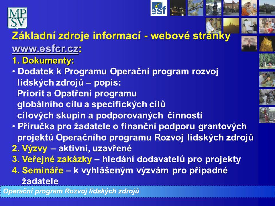 Operační program Rozvoj lidských zdrojů www.esfcr.czwww.esfcr.cz: Základní zdroje informací - webové stránky www.esfcr.cz: www.esfcr.cz 1. Dokumenty: