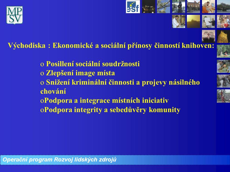 Operační program Rozvoj lidských zdrojů Východiska : Ekonomické a sociální přínosy činností knihoven: o o Posillení sociální soudržnosti o o Zlepšení