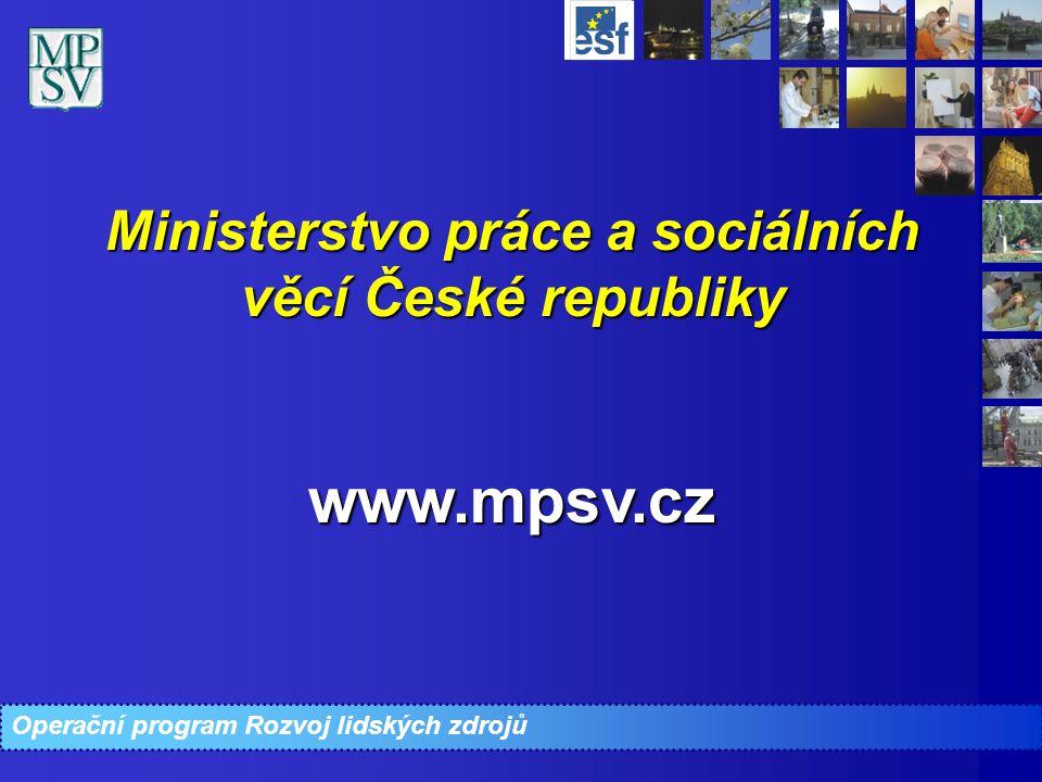 Operační program Rozvoj lidských zdrojů Ministerstvo práce a sociálních věcí České republiky www.mpsv.cz