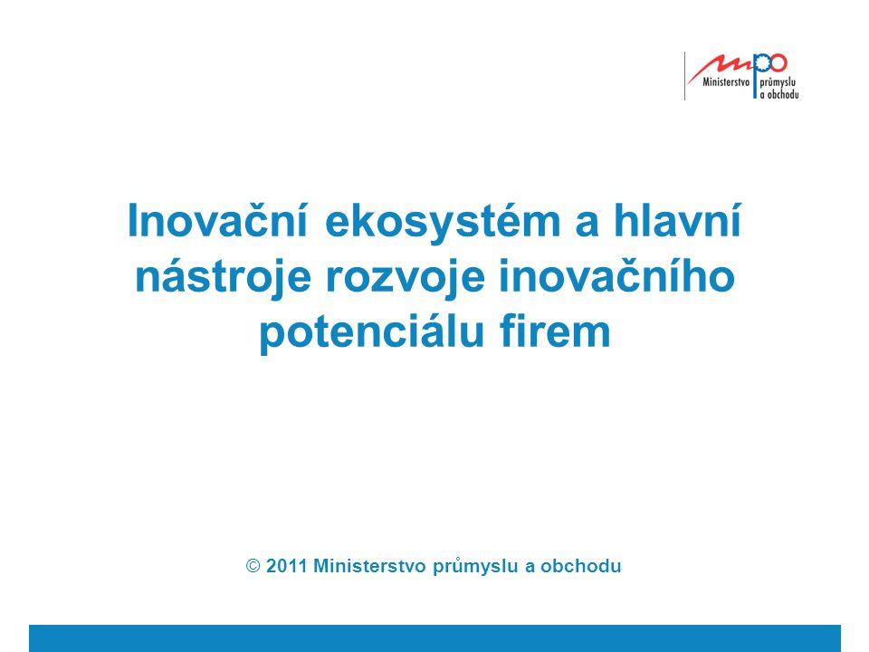 Inovační ekosystém a hlavní nástroje rozvoje inovačního potenciálu firem © 2011 Ministerstvo průmyslu a obchodu