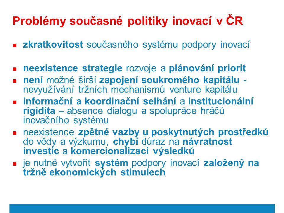 Problémy současné politiky inovací v ČR zkratkovitost současného systému podpory inovací neexistence strategie rozvoje a plánování priorit není možné
