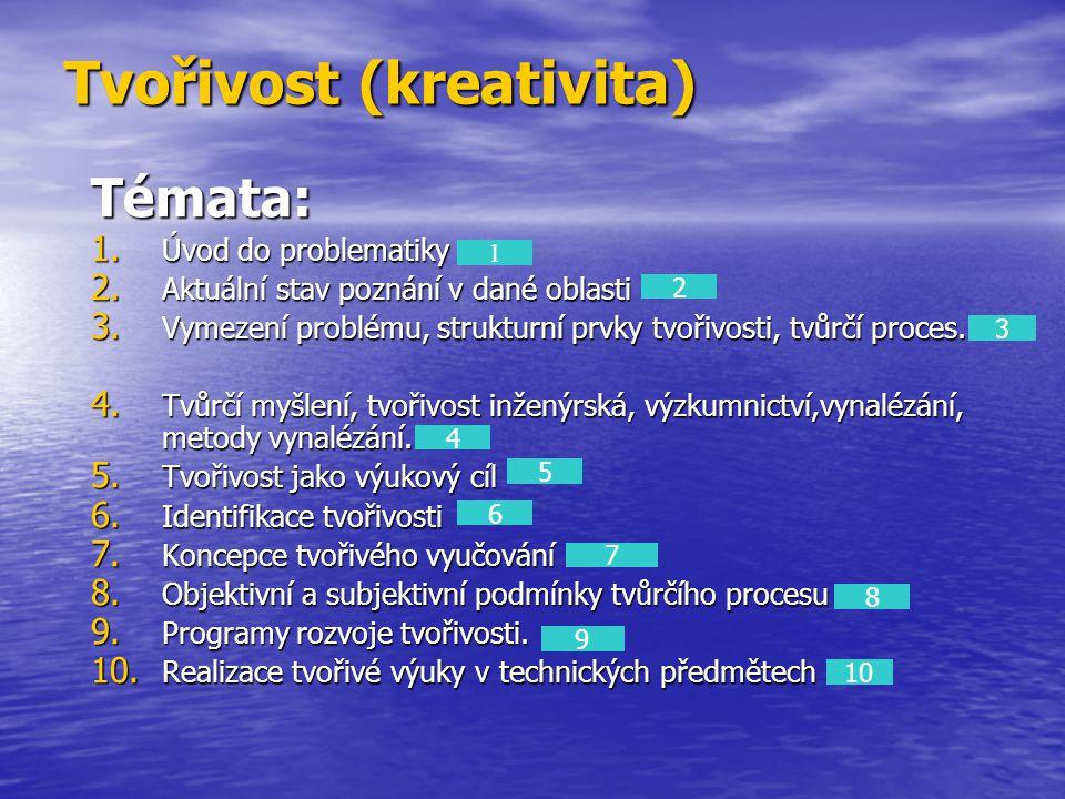 Tvořivost (kreativita) Témata: 1. Úvod do problematiky 2. Aktuální stav poznání v dané oblasti 3. Vymezení problému, strukturní prvky tvořivosti, tvůr