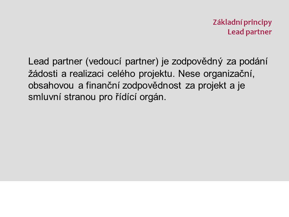 Základní principy Lead partner Lead partner (vedoucí partner) je zodpovědný za podání žádosti a realizaci celého projektu.