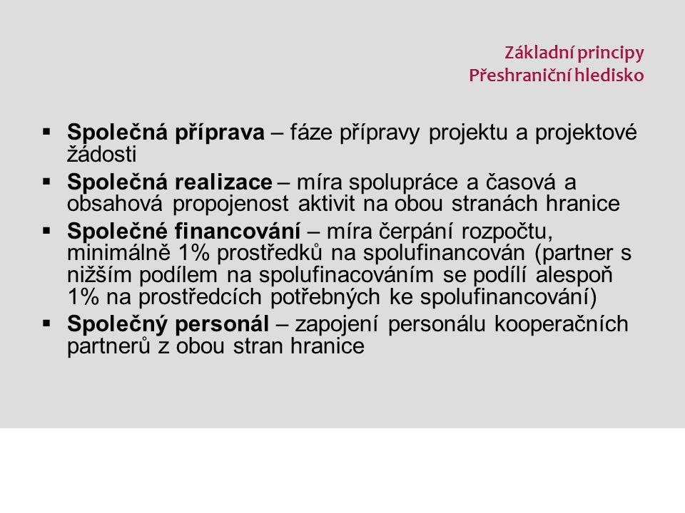 Základní principy Přeshraniční hledisko  Společná příprava – fáze přípravy projektu a projektové žádosti  Společná realizace – míra spolupráce a časová a obsahová propojenost aktivit na obou stranách hranice  Společné financování – míra čerpání rozpočtu, minimálně 1% prostředků na spolufinancován (partner s nižším podílem na spolufinacováním se podílí alespoň 1% na prostředcích potřebných ke spolufinancování)  Společný personál – zapojení personálu kooperačních partnerů z obou stran hranice