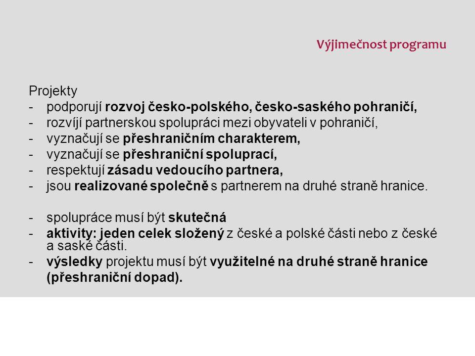 Výjimečnost programu Projekty -podporují rozvoj česko-polského, česko-saského pohraničí, -rozvíjí partnerskou spolupráci mezi obyvateli v pohraničí, -vyznačují se přeshraničním charakterem, -vyznačují se přeshraniční spoluprací, -respektují zásadu vedoucího partnera, -jsou realizované společně s partnerem na druhé straně hranice.