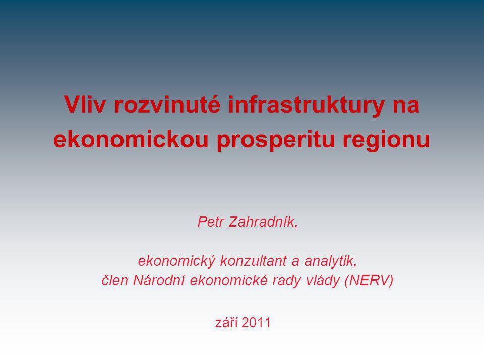 Vliv rozvinuté infrastruktury na ekonomickou prosperitu regionu září 2011 Petr Zahradník, ekonomický konzultant a analytik, člen Národní ekonomické rady vlády (NERV)
