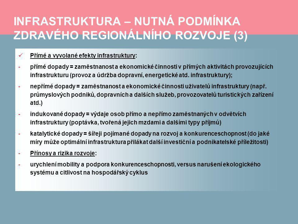 PARAMETRY NUTNÉ PRO ROZVOJ INFRASTRUKTURY (3) Zdravé makroekonomické, fiskální a legislativní prostředí : -Státní fond dopravní infrastruktury: -objem jeho disponibilních prostředků vykazuje na období 2011 – 2013 oproti vývoji do roku 2010 významnou redukci; -respektování strategických záměrů Ministerstva dopravy v oblasti investic do dopravní infrastruktury: preference urychlení výstavby komunikací, které vymísťují dopravu z hustě obydlených aglomerací, především obchvatů; preference akcí, posilujících kapacitu současných komunikací a bezpečnost, momentálně nikoliv finančně vysoce náročné investice; došlo k posunutí několika významných železničních staveb, od jiných bylo zcela upuštěno; dávána přednost realizaci PPP projektů