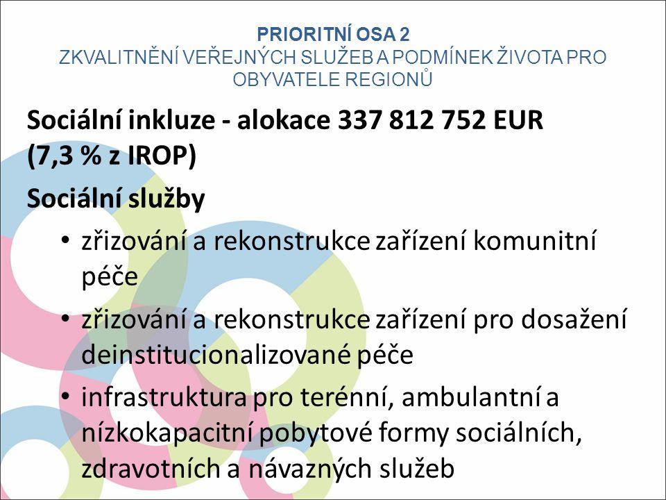Sociální inkluze - alokace 337 812 752 EUR (7,3 % z IROP) Sociální služby zřizování a rekonstrukce zařízení komunitní péče zřizování a rekonstrukce zařízení pro dosažení deinstitucionalizované péče infrastruktura pro terénní, ambulantní a nízkokapacitní pobytové formy sociálních, zdravotních a návazných služeb PRIORITNÍ OSA 2 ZKVALITNĚNÍ VEŘEJNÝCH SLUŽEB A PODMÍNEK ŽIVOTA PRO OBYVATELE REGIONŮ