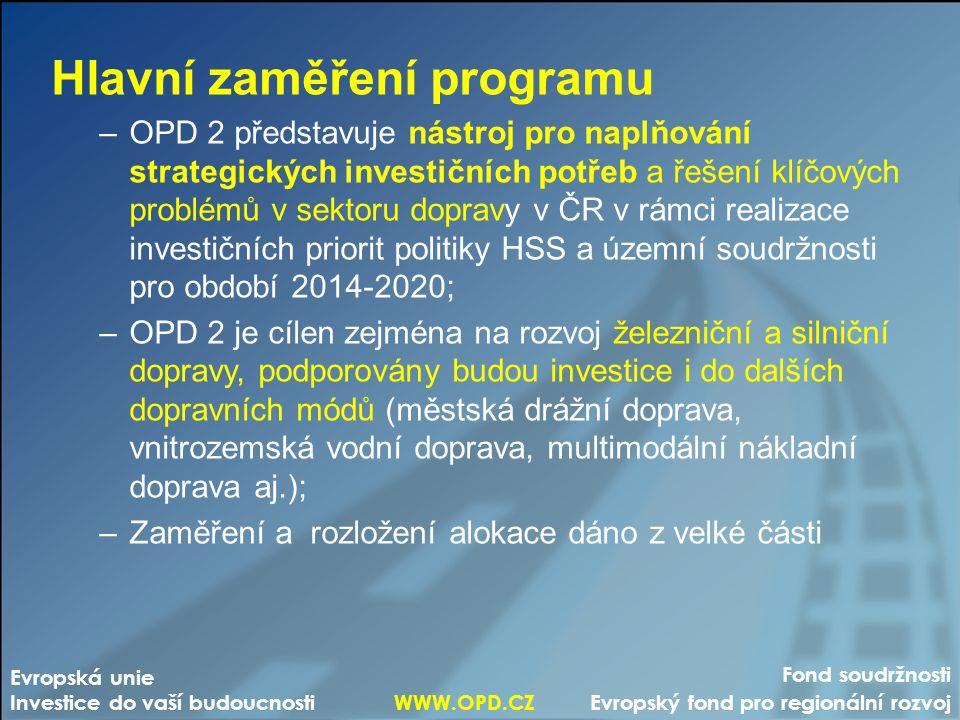 Fond soudržnosti Evropský fond pro regionální rozvoj Evropská unie Investice do vaší budoucnosti WWW.OPD.CZ Hlavní zaměření programu –OPD 2 představuj