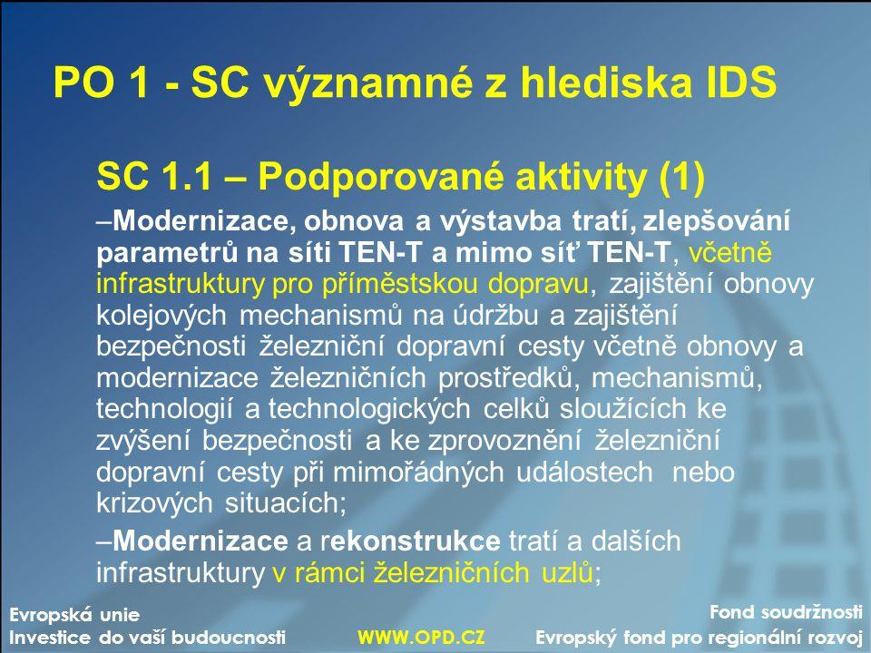 PO 1 - SC významné z hlediska IDS SC 1.1 – Podporované aktivity (1) –Modernizace, obnova a výstavba tratí, zlepšování parametrů na síti TEN-T a mimo s