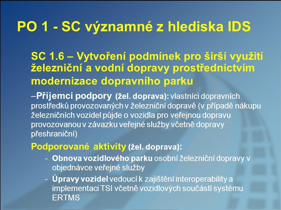 PO 1 - SC významné z hlediska IDS SC 1.6 – Vytvoření podmínek pro širší využití železniční a vodní dopravy prostřednictvím modernizace dopravního park
