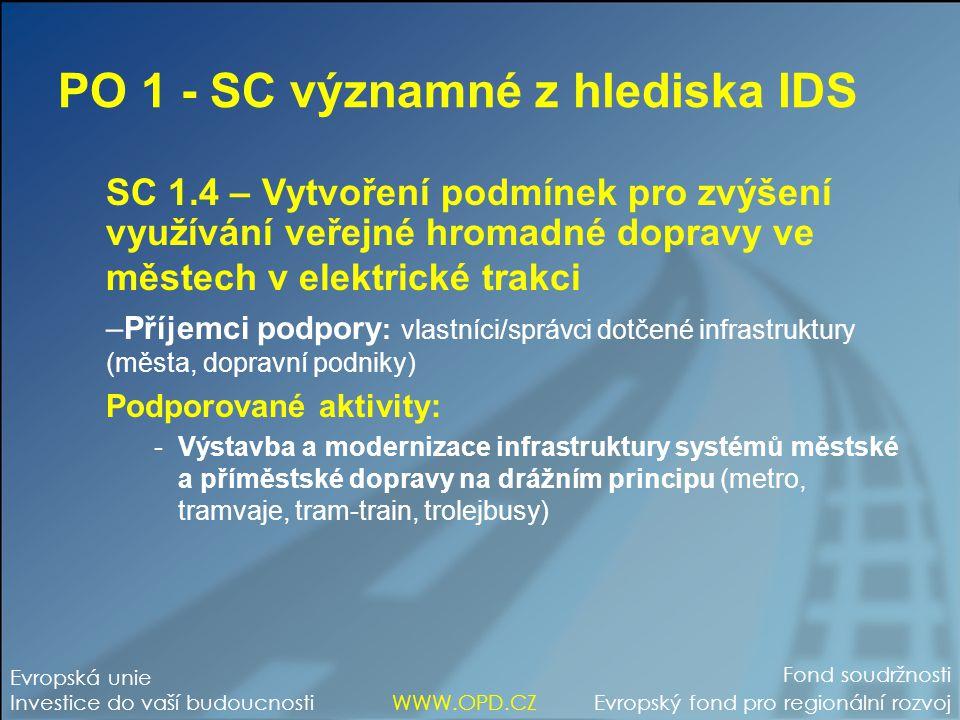 PO 1 - SC významné z hlediska IDS SC 1.4 – Vytvoření podmínek pro zvýšení využívání veřejné hromadné dopravy ve městech v elektrické trakci –Příjemci