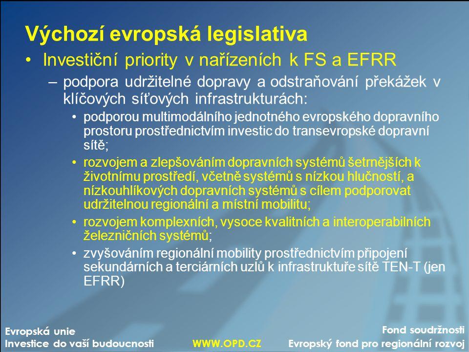 Fond soudržnosti Evropský fond pro regionální rozvoj Evropská unie Investice do vaší budoucnosti WWW.OPD.CZ Výchozí evropská legislativa Investiční pr