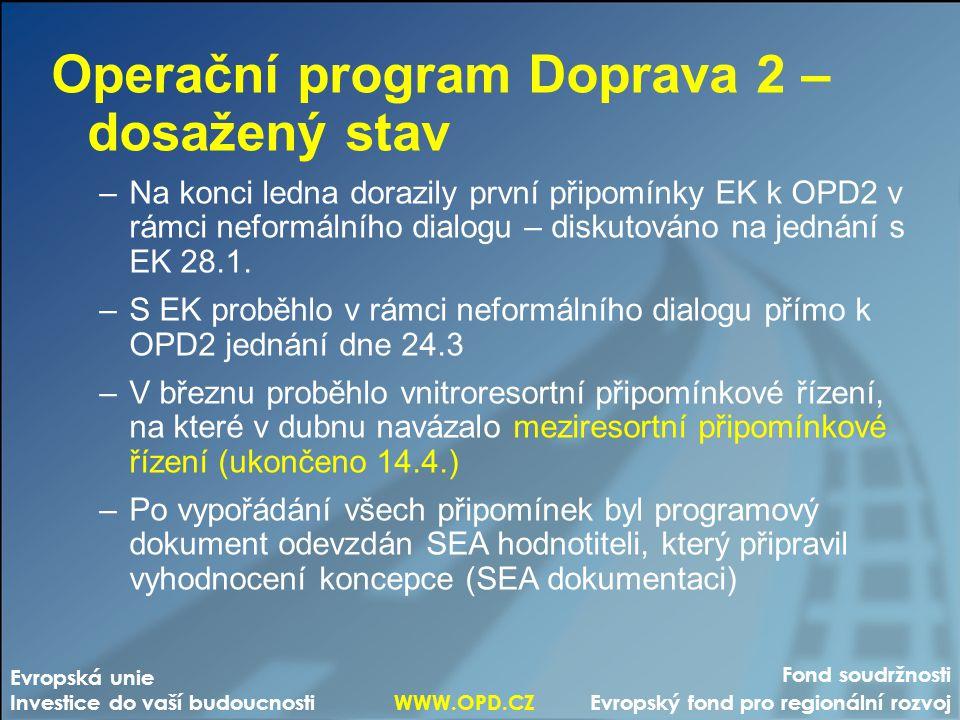 Operační program Doprava 2 – další postup –Na MŽP byly programový dokument a SEA dokumentace předloženy 6.5., 9.5.