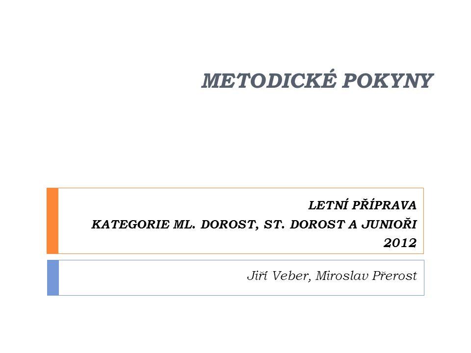 METODICKÉ POKYNY LETNÍ PŘÍPRAVA KATEGORIE ML. DOROST, ST. DOROST A JUNIOŘI 2012 Jiří Veber, Miroslav Přerost