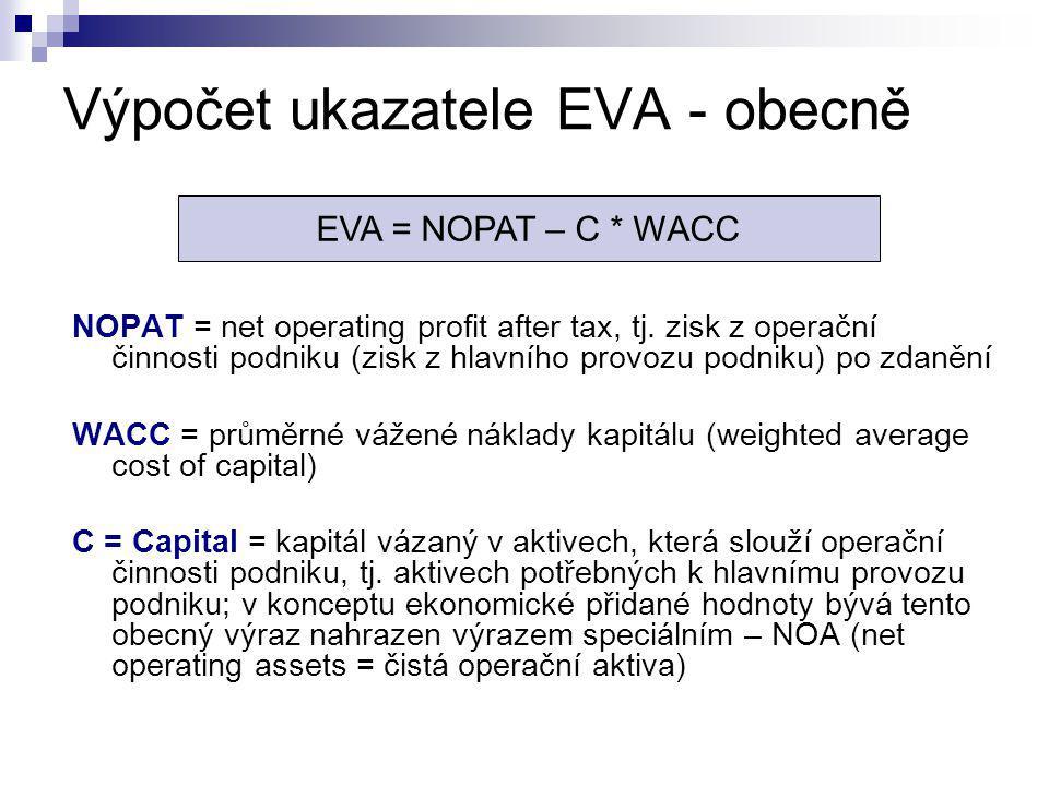 Výpočet ukazatele EVA - obecně NOPAT = net operating profit after tax, tj. zisk z operační činnosti podniku (zisk z hlavního provozu podniku) po zdaně