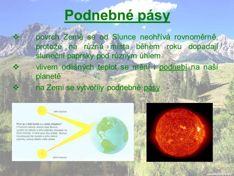 Podnebné pásy  povrch Země se od Slunce neohřívá rovnoměrně, protože na různá místa během roku dopadají sluneční paprsky pod různým úhlem  vlivem odlišných teplot se mění i podnebí na naší planetě  na Zemi se vytvořily podnebné pásy