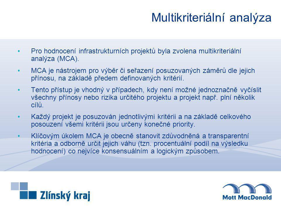 Multikriteriální analýza Pro hodnocení infrastrukturních projektů byla zvolena multikriteriální analýza (MCA). MCA je nástrojem pro výběr či seřazení