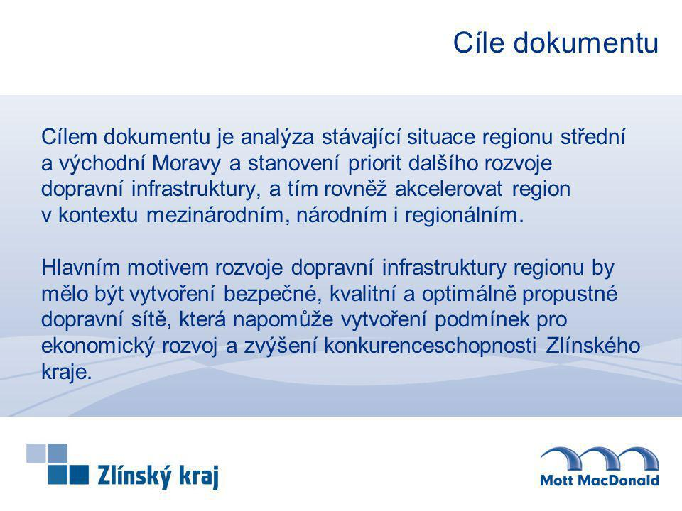 Cíle dokumentu Cílem dokumentu je analýza stávající situace regionu střední a východní Moravy a stanovení priorit dalšího rozvoje dopravní infrastrukt
