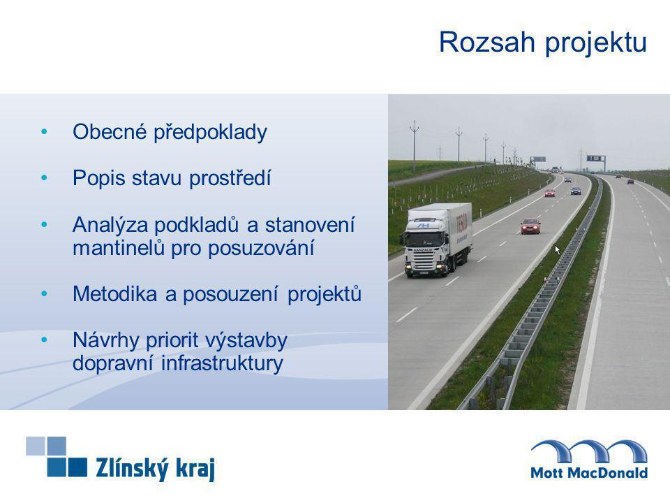 Východiska pro řešení projektu Dokument poskytuje ucelený přehled o stavu dopravní infrastruktury v regionu střední a východní Moravy, jejím potřebném rozvoji a zhodnocení skutečných přínosů jednotlivých staveb, přičemž byla akcentována především doprava silniční.