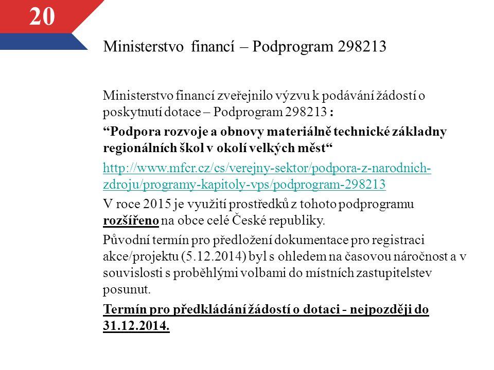 """20 Ministerstvo financí – Podprogram 298213 Ministerstvo financí zveřejnilo výzvu k podávání žádostí o poskytnutí dotace – Podprogram 298213 : """"Podpor"""